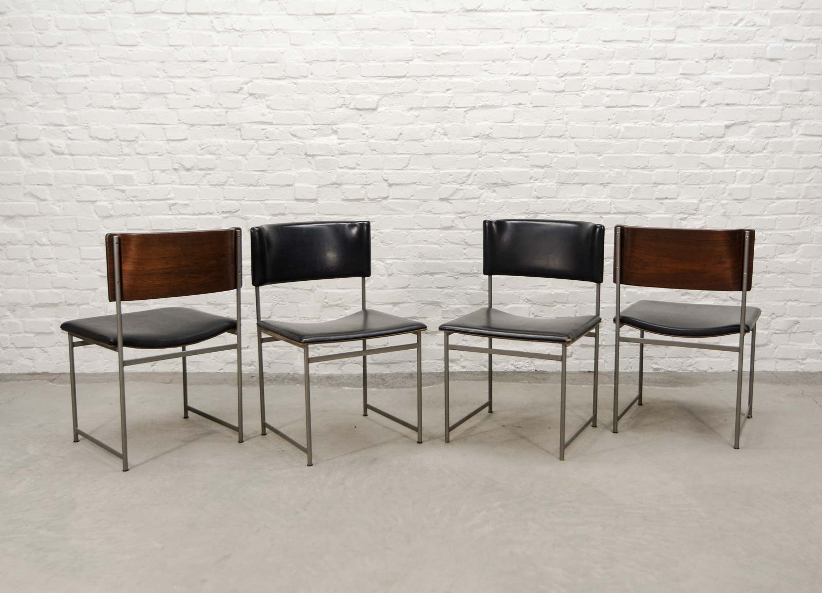 Set of Four Rosewood and Leatherette Dining Chairs by Cees Braakman for Pastoe 1960s & Set of Four Rosewood and Leatherette Dining Chairs by Cees Braakman ...