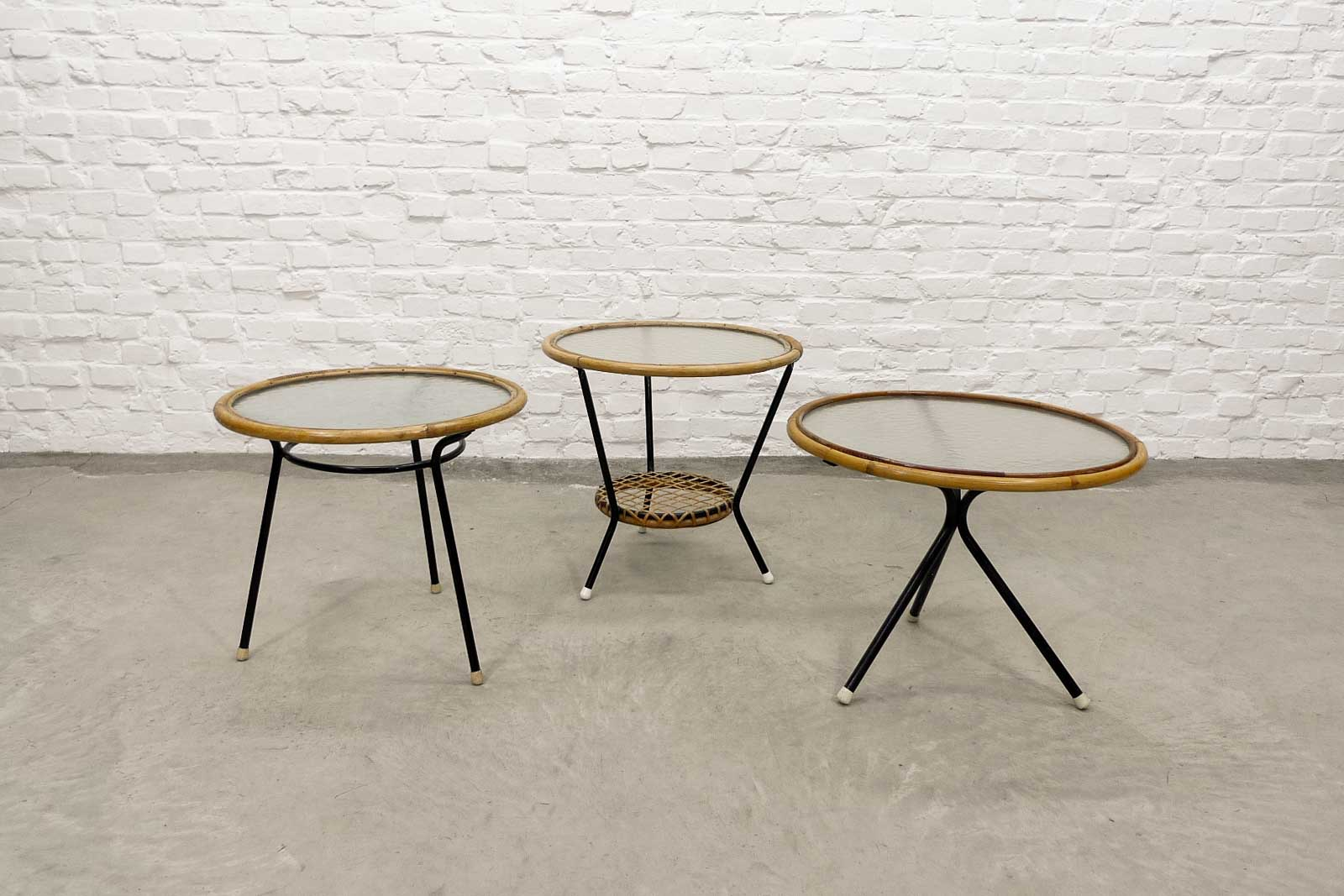 Set Of 3 Glass Tables: Mid-Century Set Of Three Round Rattan And Glass Side