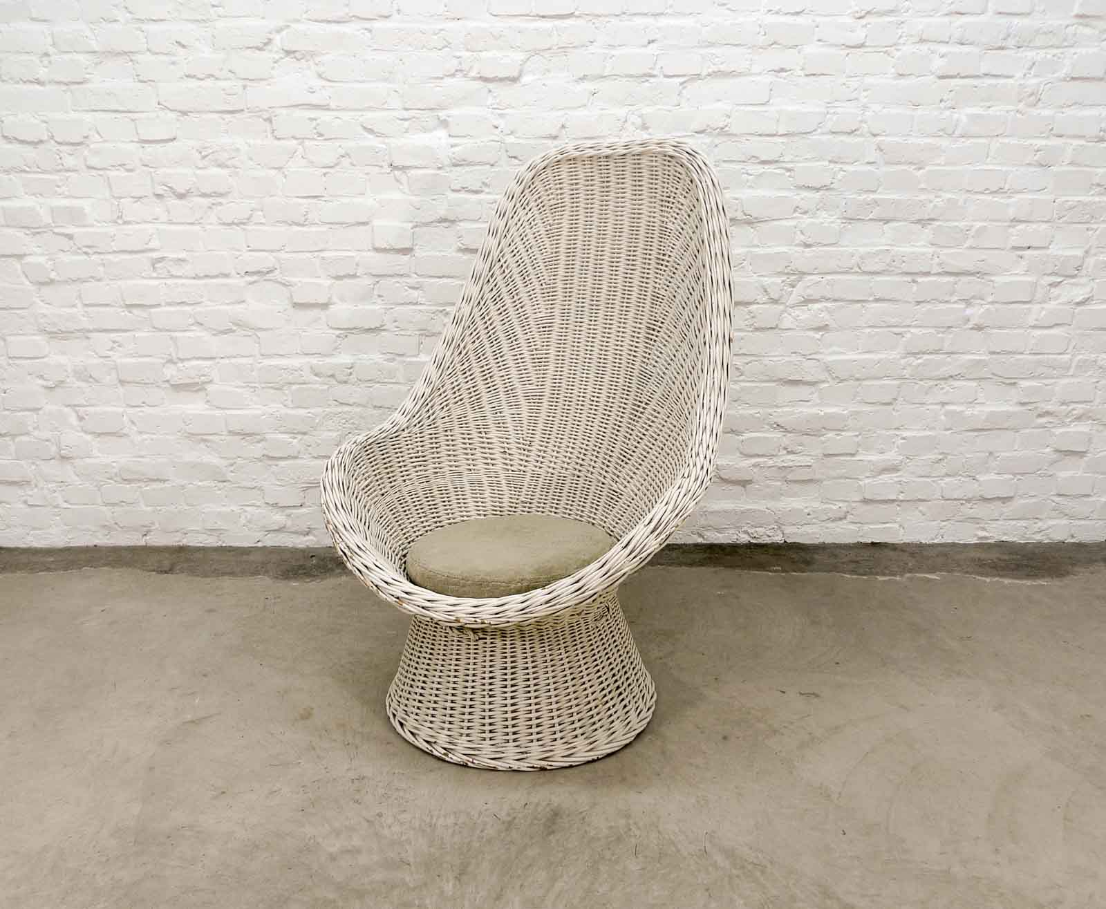 Superb Mid Century Dutch Design White Rattan High Back Lounge Chair Home Remodeling Inspirations Genioncuboardxyz