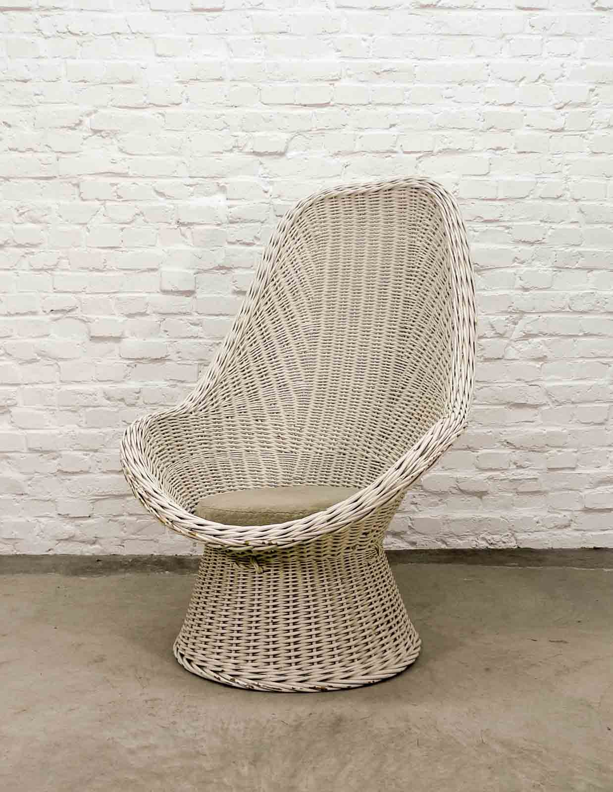 Outstanding Mid Century Dutch Design White Rattan High Back Lounge Chair Home Remodeling Inspirations Genioncuboardxyz