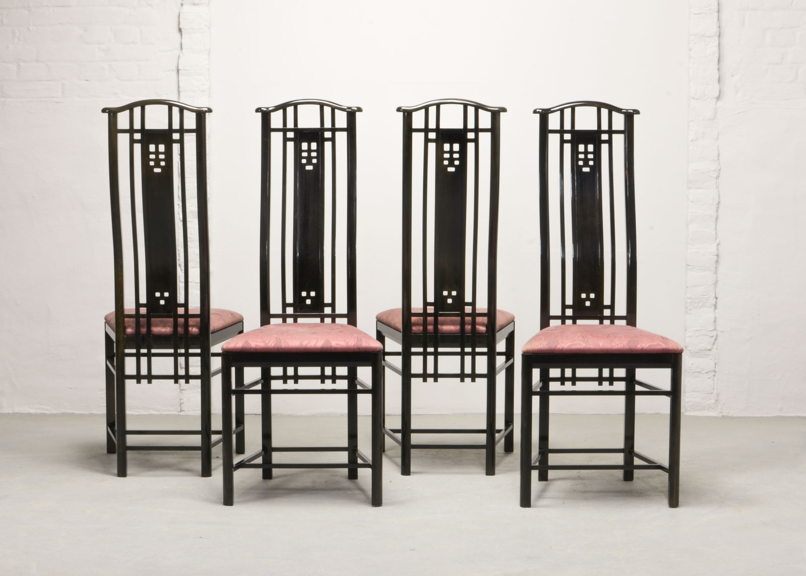 Mid-Century Set Of Four High Back Black Lacquered