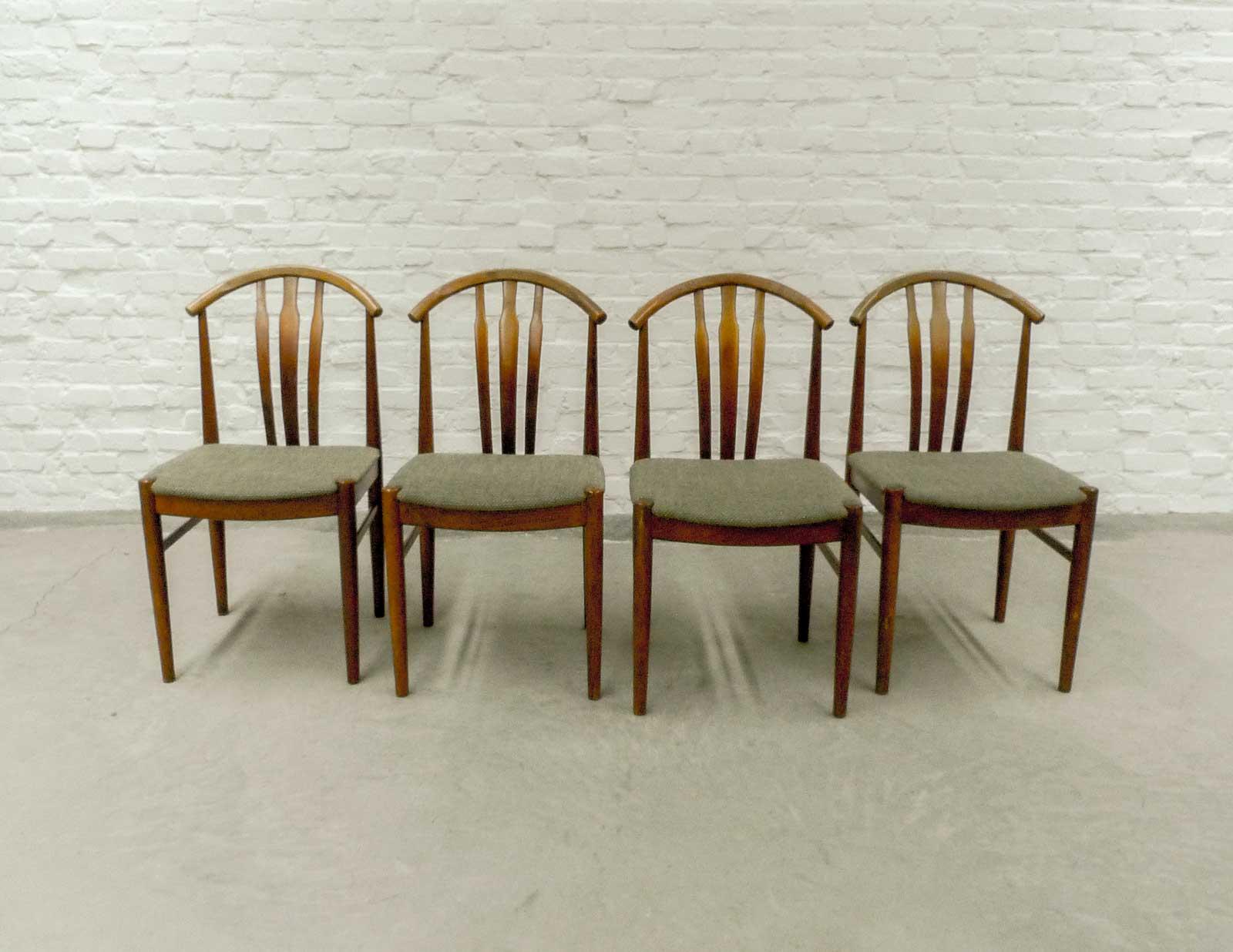 Set Of Four Swedish Designed Oak Wood Olive Green Dining