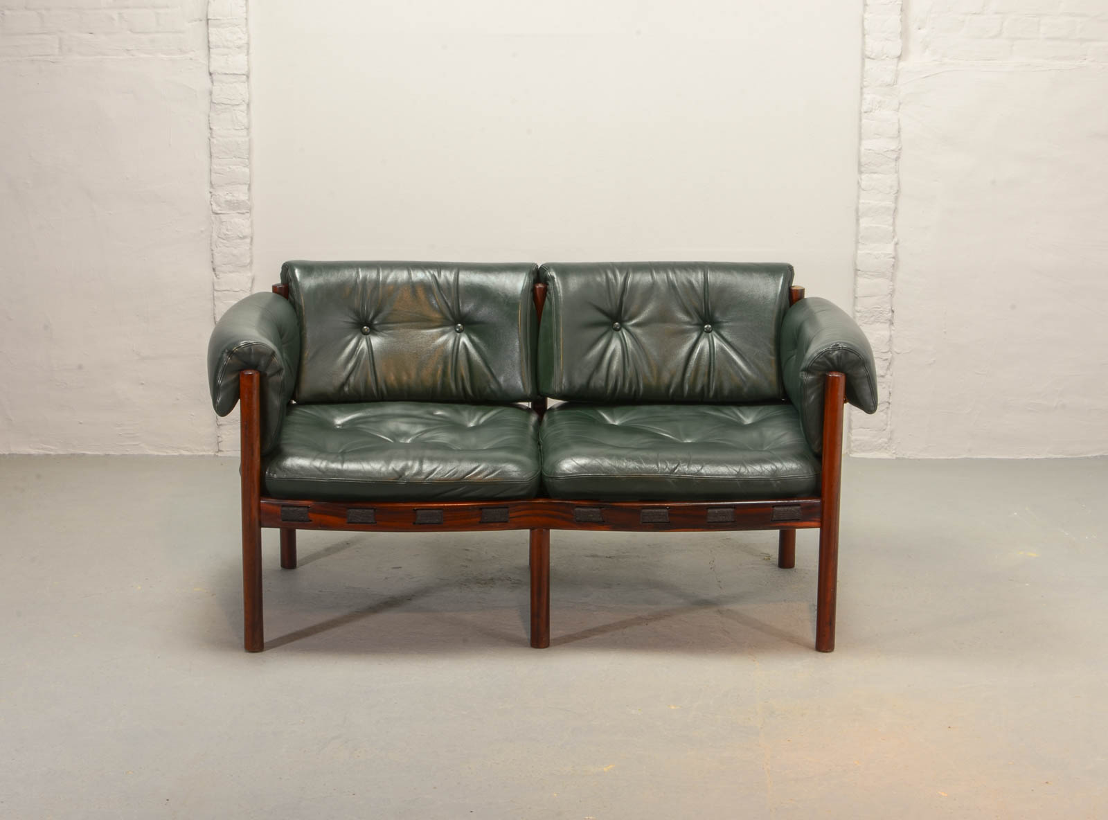 Midcentury Two-Seat Rosewood and Green Leather Sofa by Arne ...