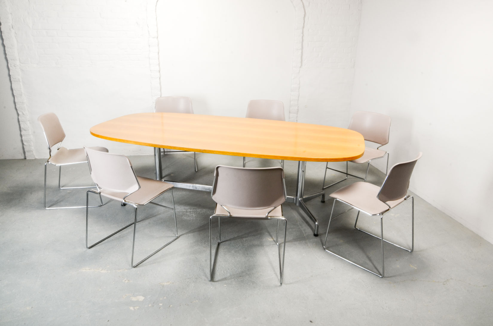 Large Mid Century Wooden Conference Table By Eames For