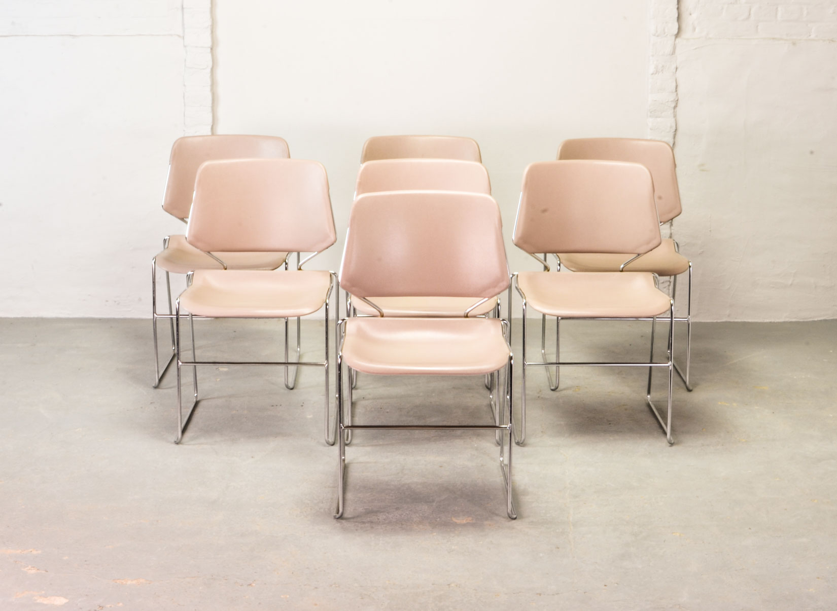 Set Of 7 Mid Century Muted Pink Stackable Matrix Krueger