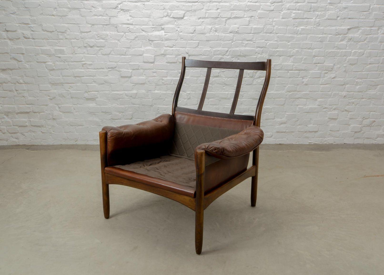 mid century scandinavian design chestnut leather lounge chair by g m bel sweden 1960s. Black Bedroom Furniture Sets. Home Design Ideas