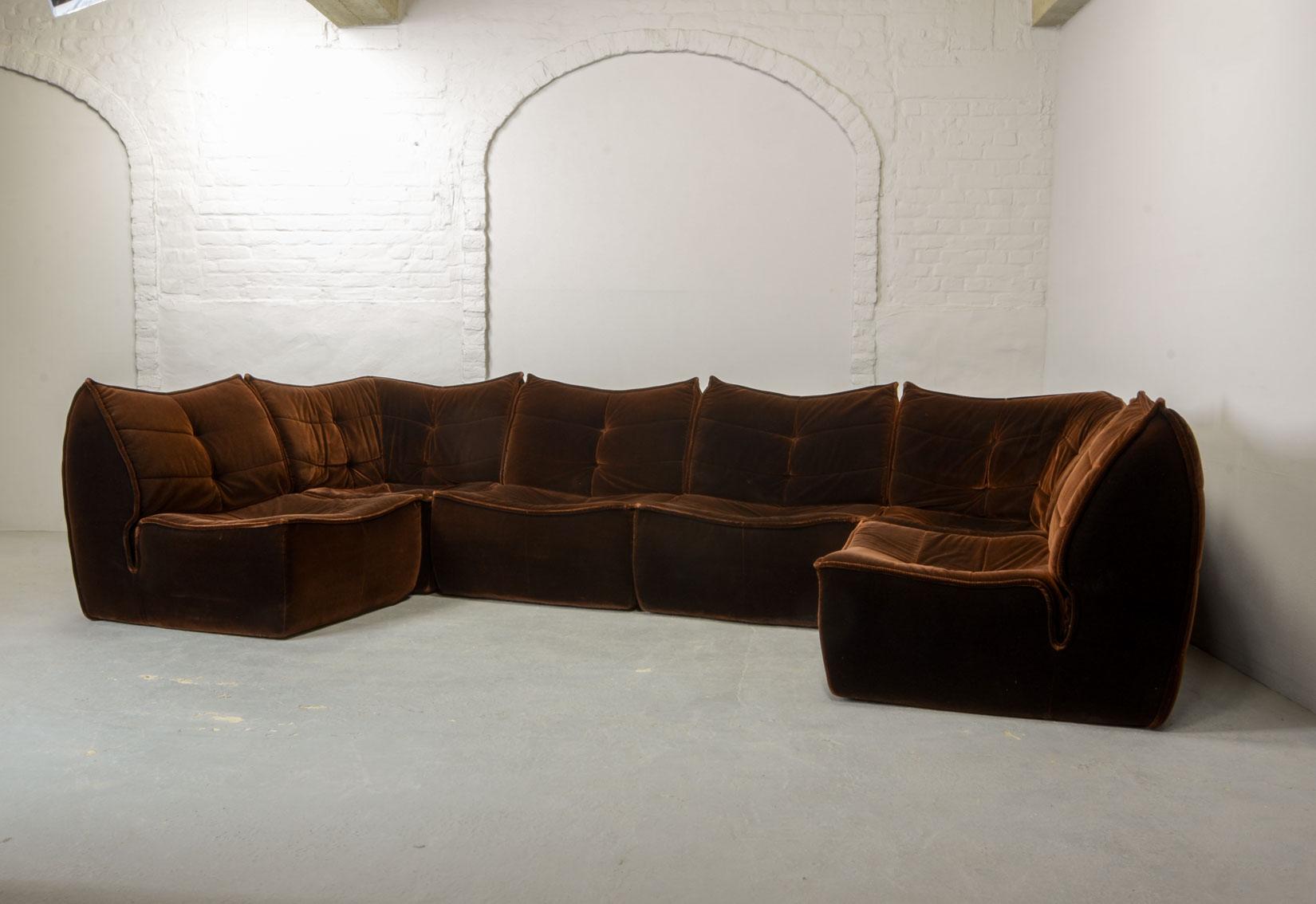Mid Century Design Chocolate Golden Brown Velvet 6 Elements