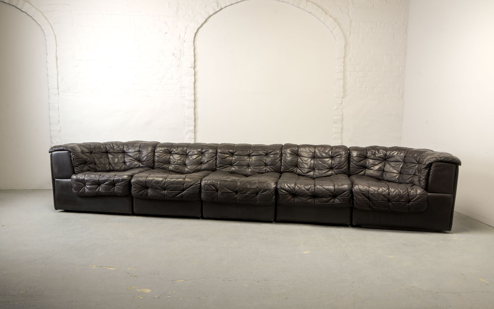 Mid-Century Patched Blackish Brown Leather 5 Elements ...