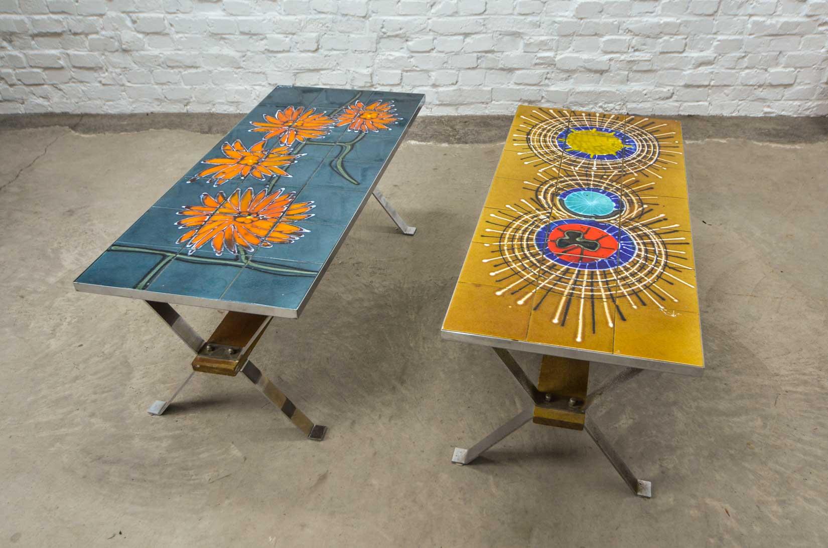 Mid Century Orange Flower Design Vintage Ceramic Tiles Coffee