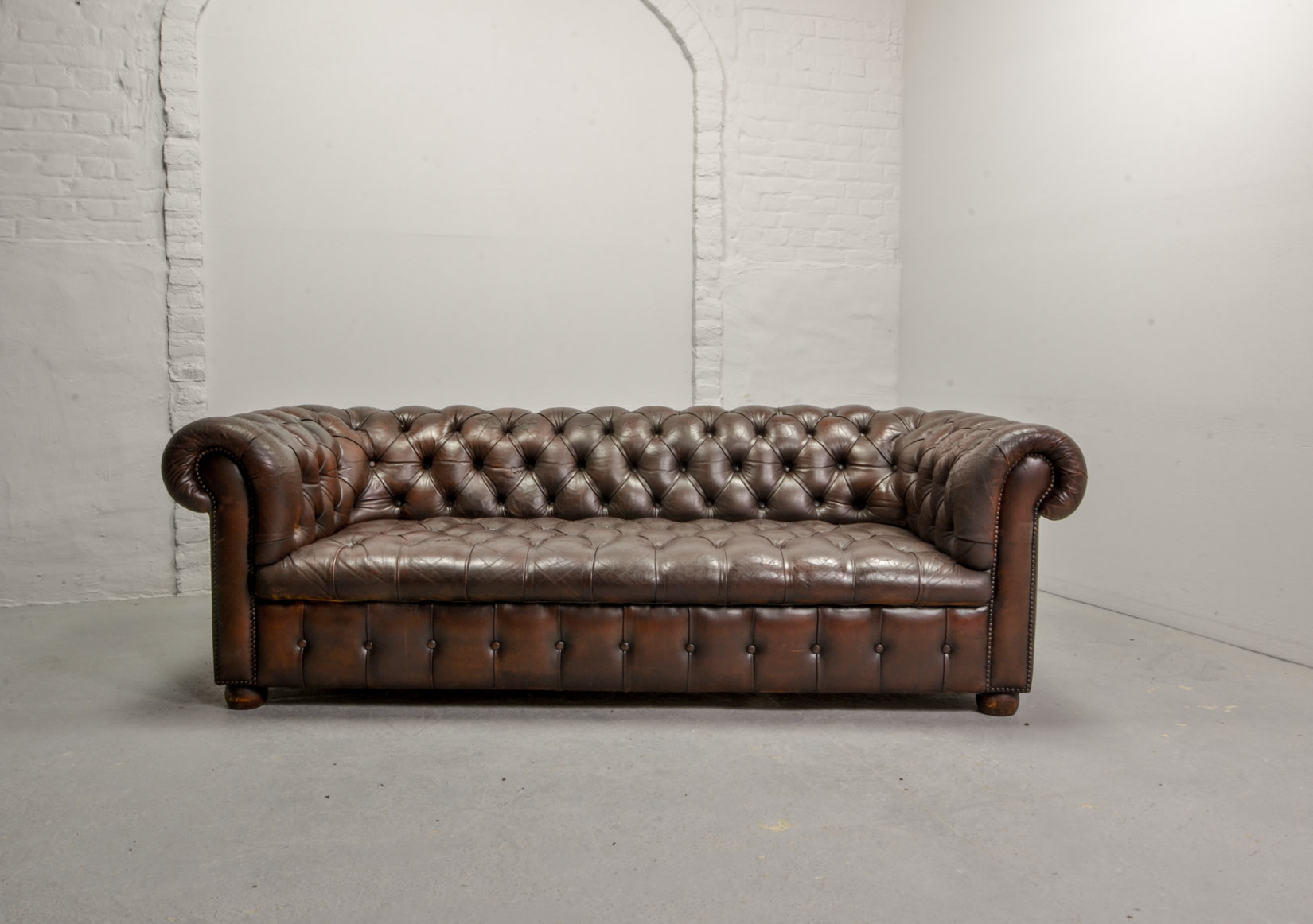 Mid Century Design Tufted Chestnut Deep Brown Leather Three