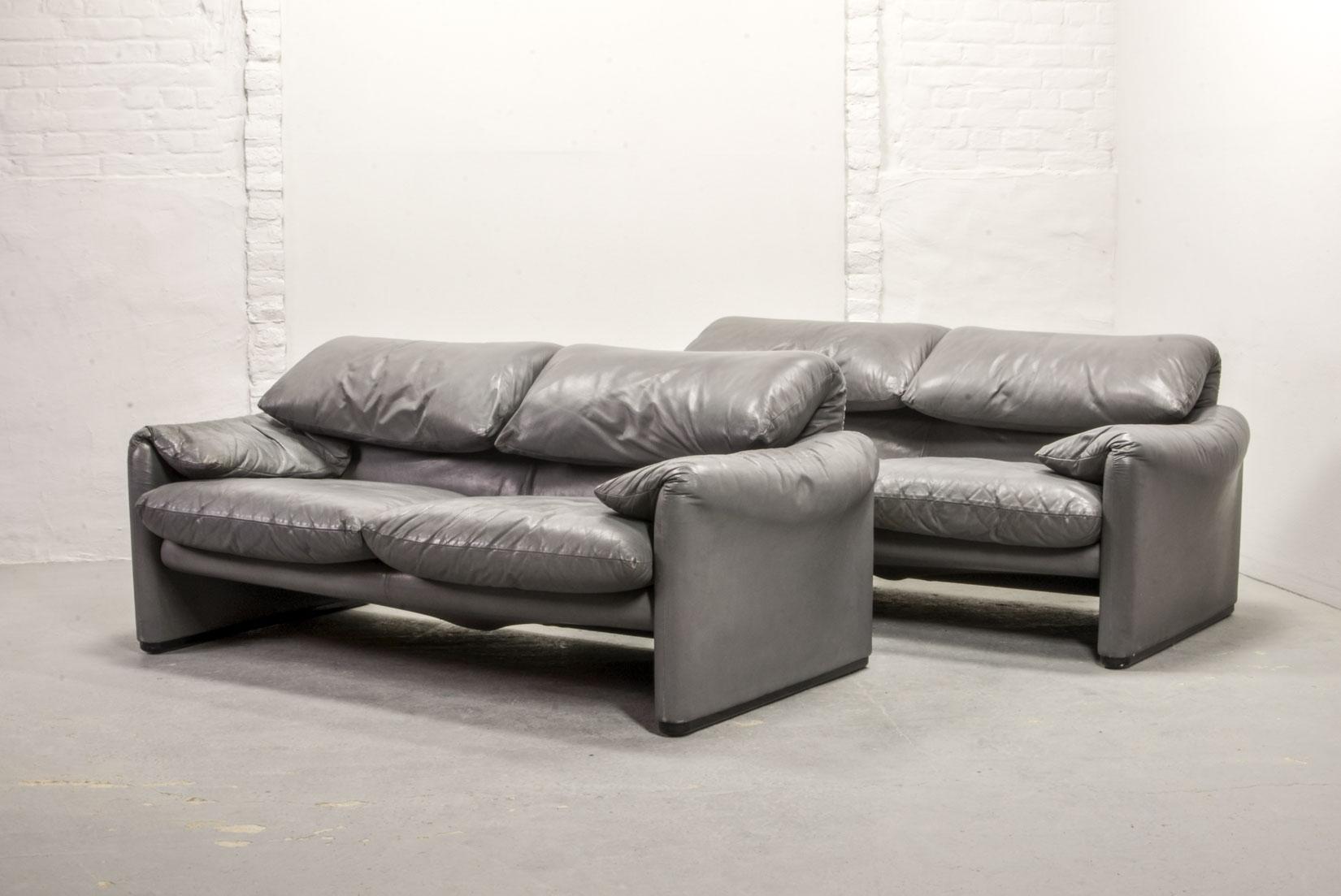 Pair of Mid-Century Italian Design Dolphin Grey Leather ...