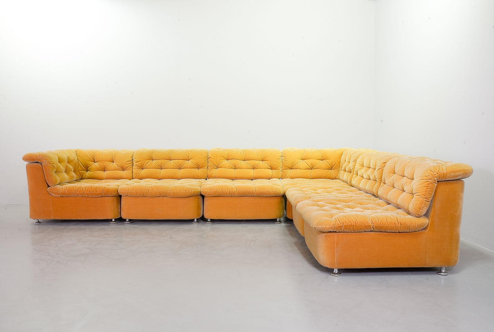 Dreipunkt Large Modular Lounge Sofa In Ochre Peach Velvet Fabric Germany 1970s Ref S055 Hpvintage Com